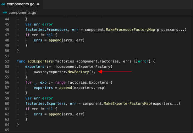 Add exporter in components.go