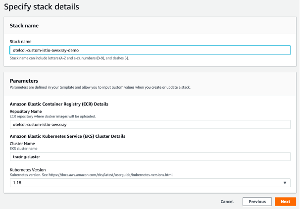 Stack details page