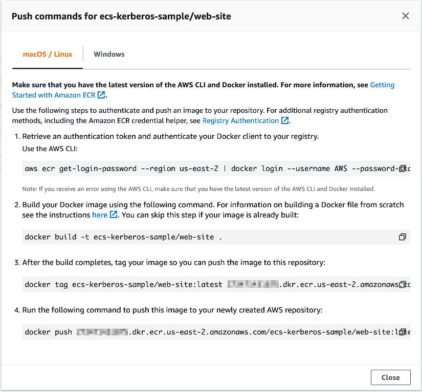 Example ECR push commands in the AWS Management Console
